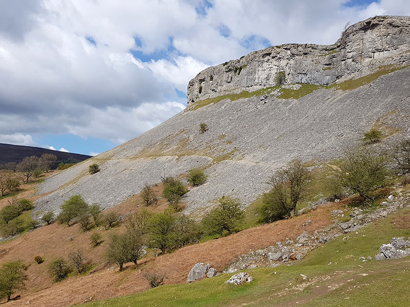 The Offa's Dyke path under limestone escarpment